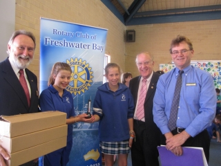 Presenting microscopes to Swanbourne Primary School, September 2011
